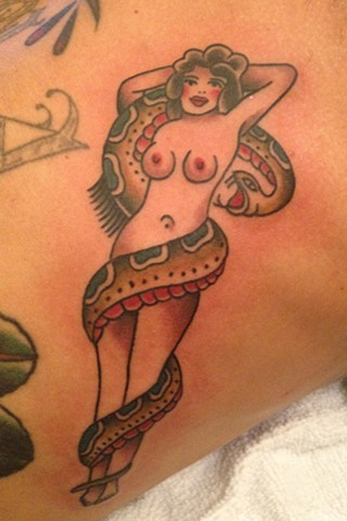 traditional Pin-Up Girl with Snake tattoo by Bradley Delay