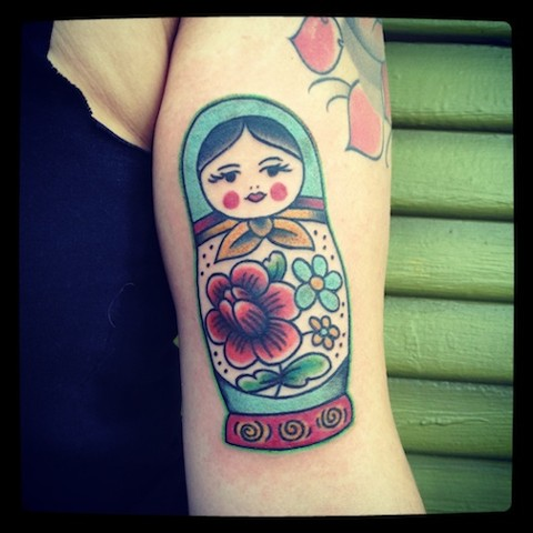 Russian Nesting Doll tattoo by Bradley Delay