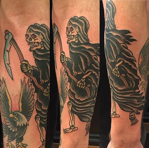 Traditional reaper tattoo made at Historic Tattoo, Portland, Oregon