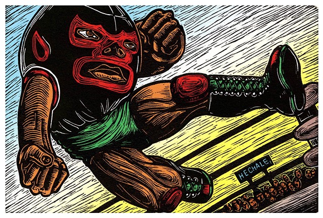 Chapallo Luchon   (Short Wrestler) Linocut 2010 Print/Image size: 4 in. x 6 in. Paper size: 11 in. x 11 in.
