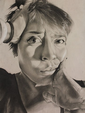 Student Work Class: Drawing 1 Media: White and Black Charcoal Project Theme: Grimace Portrait Size: 24 in. x 18 in.