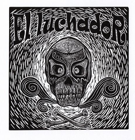 El Luchador (The wrestler)  Linocut 2009 Paper size: 8-¼ in. x 9 in. Print/Image size: 8-½ in. x 8-½ in.
