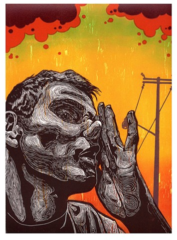 ¿Qué?  (What?) Linocut, Woodcut 2008 Print/Image size: 14 in. x 9 in.
