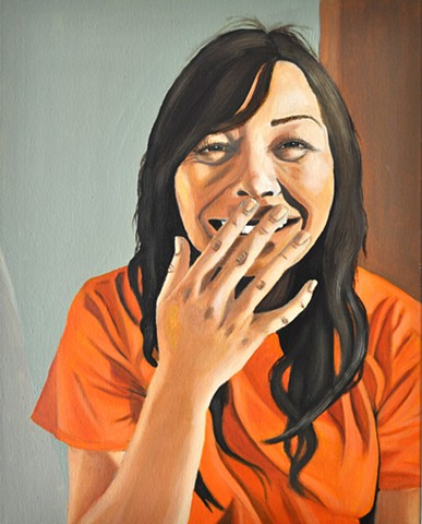 Student Work Class: Painting 1 Project: Self-portrait  Media: Oil on Canvas Size: 20 in. x 16 in.