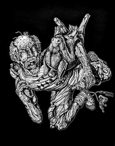 Al Que Coma Chicharrones Por la Mañana, Al Día Siguiente No Le Salen Canas (He Who Eats Pork Rinds in The Morning, Won't Get Gray Hairs the Next Day) Linocut 2016 Print/Image size: 27-¾ in. x 21-¾ in. Paper size: 27-¾ in. x 21-½ in.