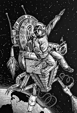 Futura Nave Espacial Maya del 2012  (Future Mayan Spaceship of the Year 2012) Linocut 2011 Print/Image size: 22 in. x 16 in. Paper size: 30 in. x 22 in.