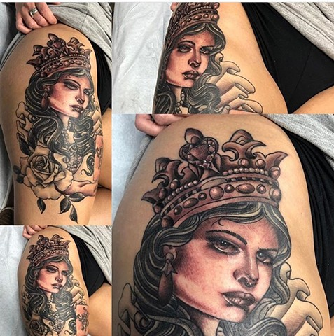 Black and grey queen with roses Strange World Tattoo Calgary Alberta