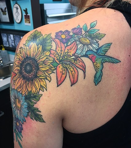flower shoulder cap tattoo strange world tattoo