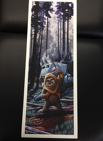 Star Wars art print ewok