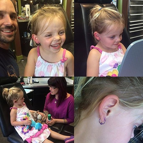 kids ear piercing at Strange World Tattoo in Calgary