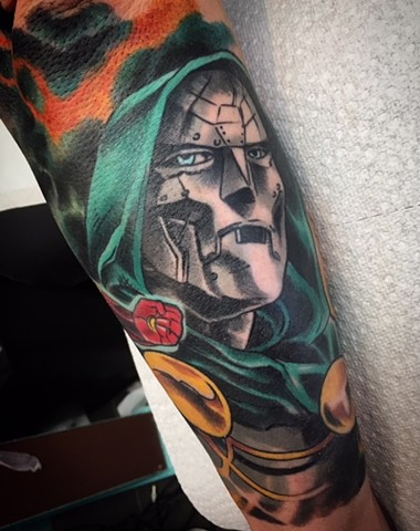 Doctor Doom comic tattoo by artist Brett Schwindt of Strange World Tattoo in Calgary, Canada