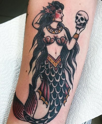mermaid tattoo traditional tattoo Strange World Tattoo Calgary Alberta Canada