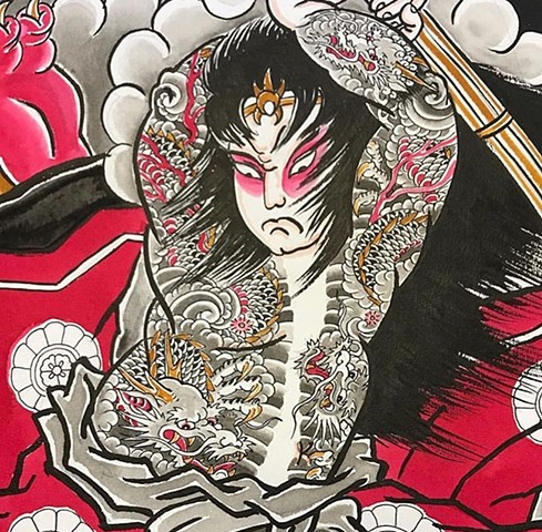 Japanese artwork painting strange World Tattoo Calgary Alberta Canada