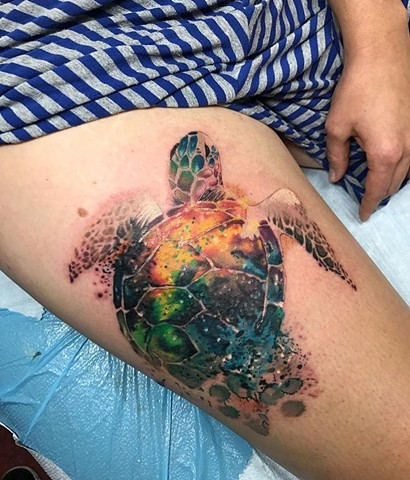 watercolour turtle tattoo on upper thigh Strange World Tattoo Calgary Alberta Canada