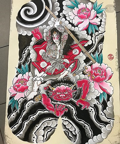 Japanese back piece tattoo painting strange World Tattoo Calgary Alberta Canada