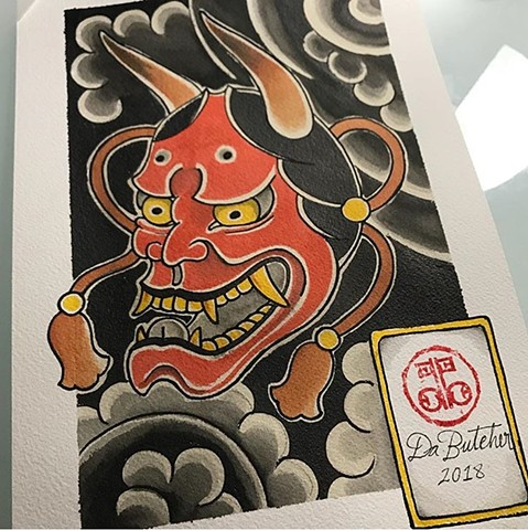 Japanese hannya mask tattoo artwork painting strange World Tattoo Calgary Alberta Canada