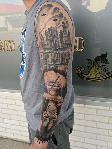 black and grey half sleeve tattoo