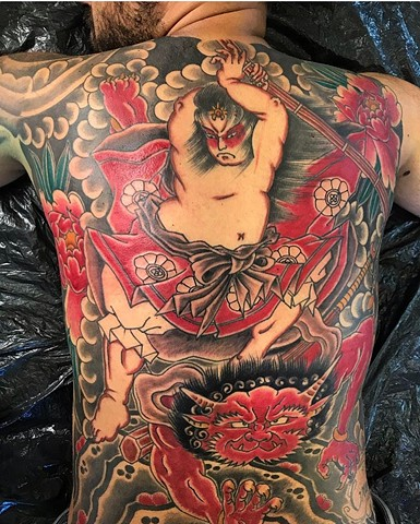 Japanese back piece tattoo colour strange world tattoo calgary tattoo artist's canada alberta