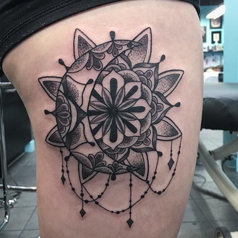 mandala moon and sun tattoo