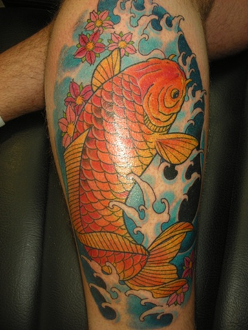 Koi fish colour tattoo