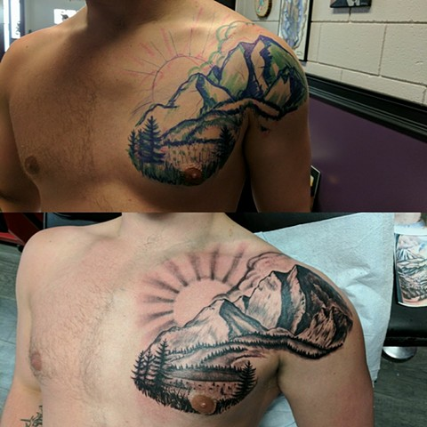 black and grey mountain tattoo