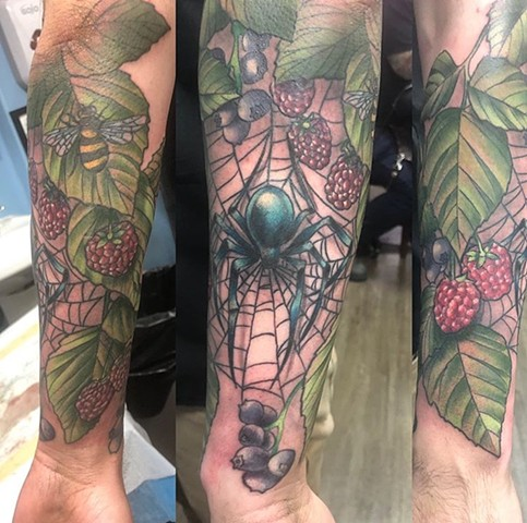 Garden themed half sleeve tattoo Strange World Tattoo Calgary, Alberta