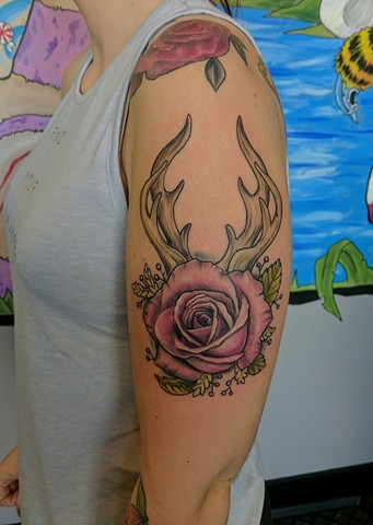 rose and antler tattoo calgary