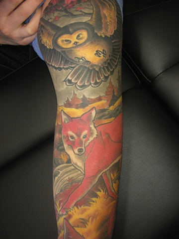 Animal sleeve tattoo
