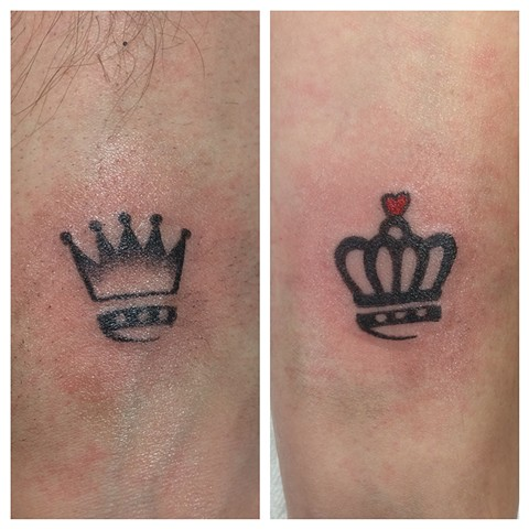 his and hers crown tattoos strange world tattoo