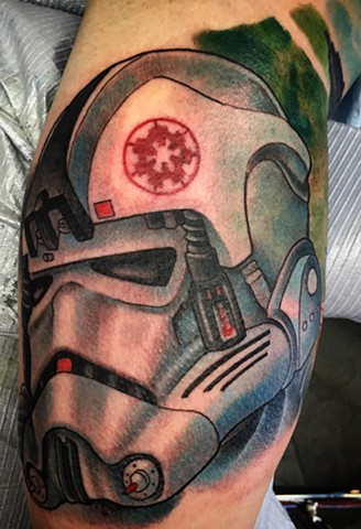 Star Wars storm trooper helmet tattoo by Brett Schwindt at Strange World Tattoo in Calgary, Canada
