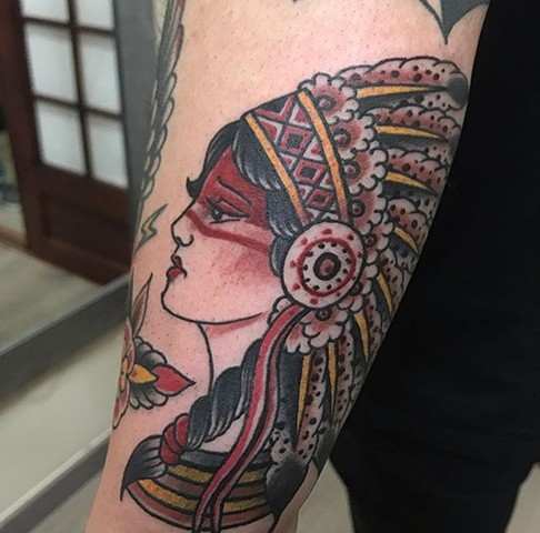Native tattoo Native woman with head dress tattoo Strange World Tattoo Calgary Alberta canada tattoo artist's