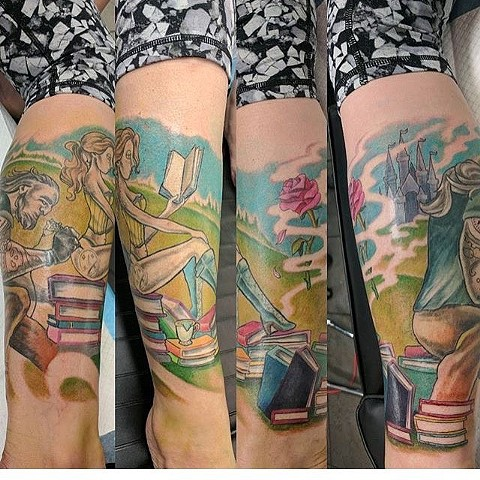 lower leg tattoo beauty and the beast