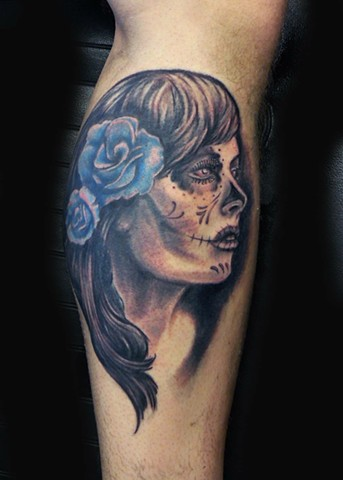 day of the dead girl head tattoo strange world tattoo