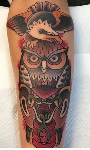 Tattoos of owls traditional style tattoos strange World Tattoo Calgary Alberta Canada