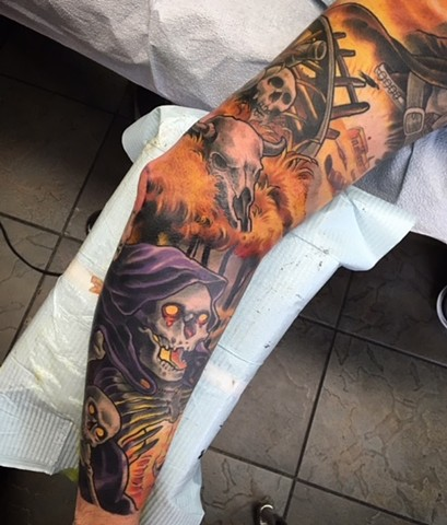 Tattoo sleeve by Tattoo artist Brett Schwindt of Strange World Tattoo western theme sleeve