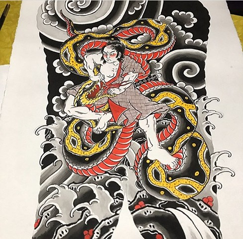 japanese tattoo back piece painting strange world tattoo calgary alberta canada tattoo artists