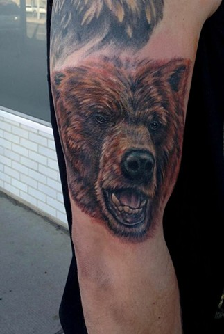 bear portrait tattoo strange world tattoo