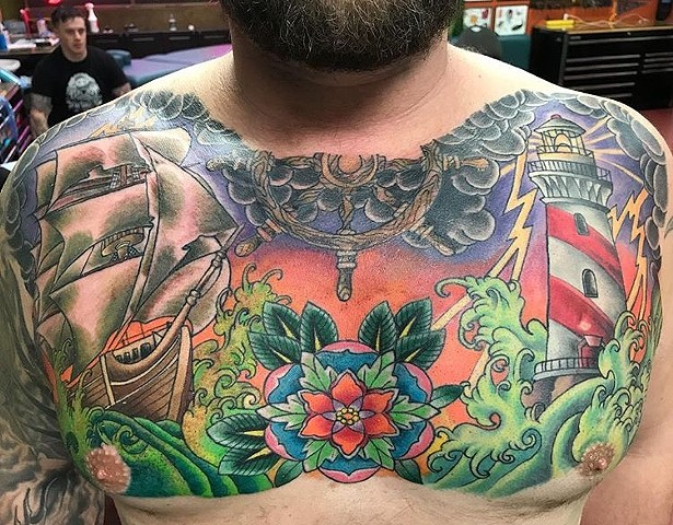 Traditional chest panel tattoo Strange World Tattoo Calgary, Alberta