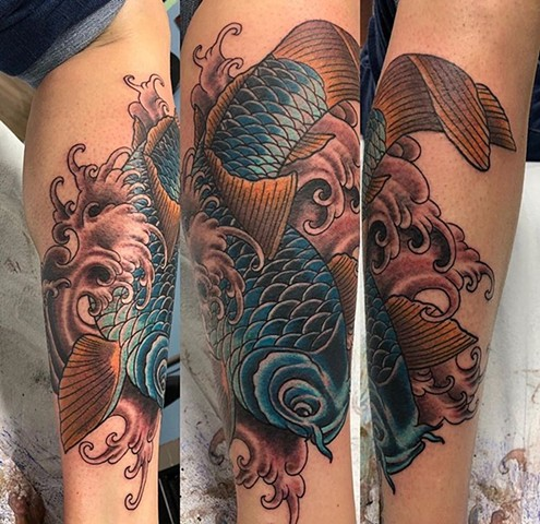 Illustrative blue carp fish tattoo Strange World Tattoo Calgary