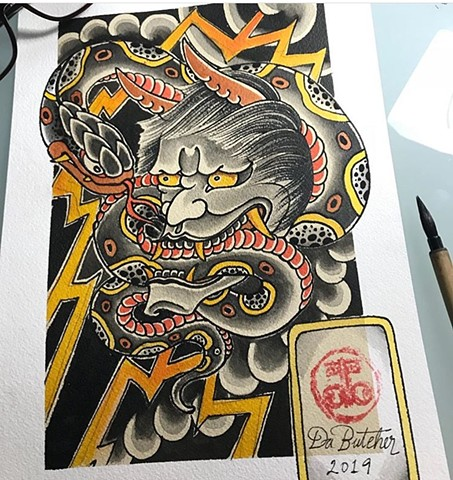 Japanese snake and hannya mask tattoo artwork strange World Tattoo Calgary Alberta Canada