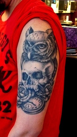 owl and skull tattoo strange world tattoo