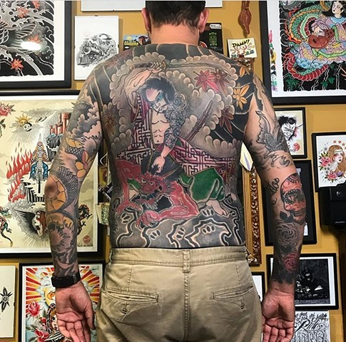 full Japanese back-piece and sleeves tattoo Strange World Tattoo Calgary Alberta Canada