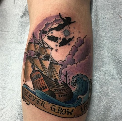 Peter Pan Tattoo in traditional style artwork Strange World Tattoo