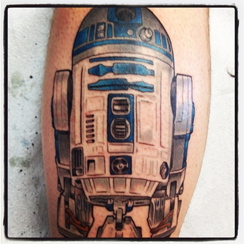 Star Wars tattoo of R2D2 by artist Brett Schwindt of Strange World Tattoo in Calgary, Canada