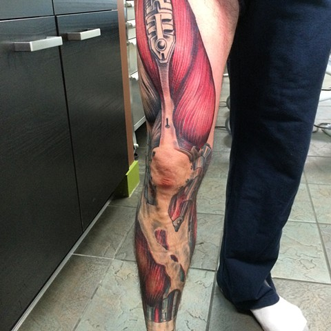 Leg sleeve colour tattoo