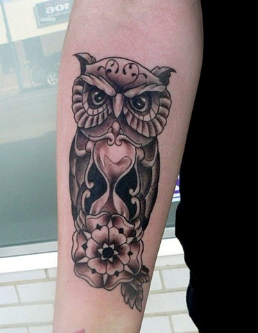 owl and hourglass tattoo strange world tattoo