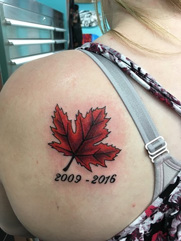 Maple leaf tattoo Strange World Tattoo in Calgary