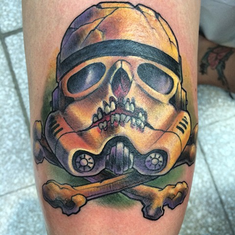 Star Wars tattoo stormtrooper helmet skull and crossbones