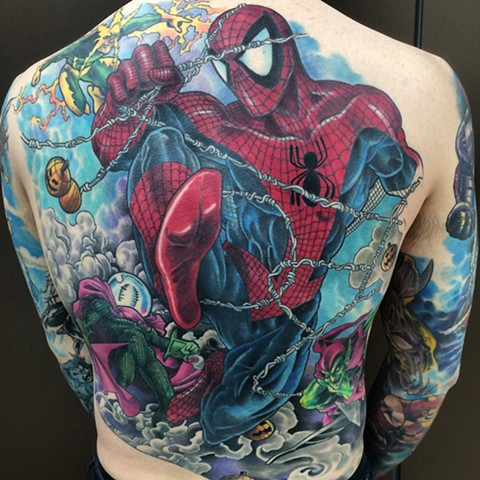 Tattoo back piece by Tattoo artist Brett Schwindt of Strange World Tattoo Spiderman