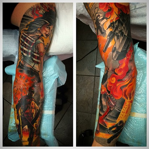 Colour sleeve tattoo